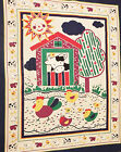 Fabric Panel Baby Barnyard Cow Chicks Bright Colors Quilt Wall Hanging Starter