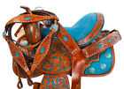 16 TURQUOISE WESTERN BARREL RACER RACING LEATHER TRAIL HORSE SHOW SADDLE TACK