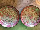 FOUR pieces Lord and Taylor Japanese Porcelain Hand Painted in Hong Kong pink/gr