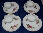 MOSS ROSE FINE CHINA JAPAN ~ SET OF 8 SEASHELL SNACK PLATES AND TEA CUPS