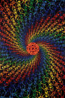 3D Tapestry Rainbow Spiral Skeletons Glasses Included FREE PRIORITY MAIL