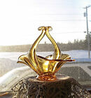 ☆Vintage Rich Amber Handled☆Glass Centerpiece Candy Dish/Bowl☆Scalloped Edges☆