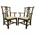 Pair Vtg Ethan Allen Chippendale Georgian Carved Cherry Dining Room Arm Chairs