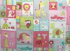 SNUGGLE FLANNEL BABY ANIMALS ALPHABET BLOCKS  PINK 100 Cotton Fabric BTY