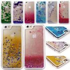 For iPhone X 6 7 8 Plus Transparent Quicksand Glitter Stars Bling Hard Back Case