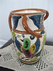 Vintage Hand Painted Three Handle Blue Green Purple Bird Art Pottery Vase Italy