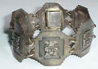 Large, Vintage SA 900 Silver (Not Sterling) Mayan God/Gods Panel Bracelet, Peru