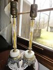 (1047) Pair Vintage Table Lamps Fluted Glass Marble Top Of  Footed Base Electric