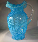 Fenton LG Wright Darker Blue Opalescent Glass Pitcher Daisy and Fern