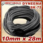 New Dyneema Winch Rope Grey Synthetic 10mm x 28m 4WD Recovery Offroad Kit Warn