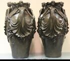 Western Art Pure Bronze Copper & Marble Grape Dragonfly Woman Girl Pot Vase Pair