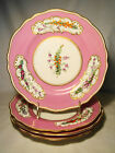 Set of 4 Early Copeland Bone China Flower & Berry Pink Plates D1273 c. 1859