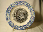 Staffordshire Blue Spongeware Transferware Black Transfer Lasso Soup Plate 19th