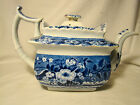 Staffordshire Transferware Clews Stone China Blue Flower Basket Teapot 1818-34