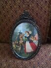 Vintage Small Ornate Metal Framed Oval Picture Made in Italy - Italian Dancers