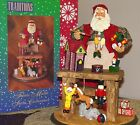 Santa Clause Workbench Centerpiece Hand Crafted Fabric Mache #80458 Collectible