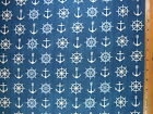 Ships Anchors Wheels end of bolt fabric BY THE HALF YARD Read Full Listing Info