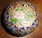 VINTAGE GOLD AND CLOISONNE TRINKET BOX BUTTERFLIES AND FLOWERS ENAMEL