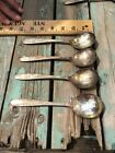 4 National Silverplate Gumbo Soup Spoons, 1937 Rose & Leaf     6 3/4