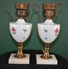 PAIR OF HAND PAINTED MILK GLASS, BRASS & MARBLE LAMPS! ROSES!