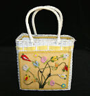 Vintage 1960's Vinyl Straw Weave Flower Applique Tote Purse Hand Bag
