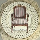 Fitz & Floyd Chair Chaise Salad Plate Blue Stripe Victorian Gold Lattice Trim