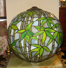 VINTAGE TIFFANY QUALITY BRONZE&LEADED STAINED GLASS GLOBE SHADE#2 W/BAMBOO LEAF