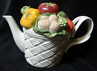 Fitz & Floyd Teapot Vegetable Garden Basket White Lattice Tomato Eggplant Vtg