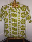 SEARS HAWAII POLY HIBISCUS PRINT WHITE / GREEN LARGE COVERED BUTTTONS WELT PKT
