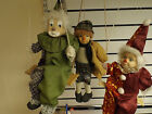 3 x Vintage Cute Clown Puppet Sitting Swing Wall Hanging Porcelain / Clay Faces