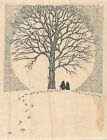 Couple With Tree Wood Mounted Rubber Stamp IMPRESSION OBSESSION NEW H1901