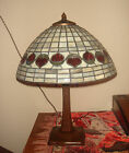 ARTS&CRAFTS SIGNED HANDEL LAMP W/LEADED STAINED GLASS ACORN PATTERN SHADE