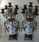 Pair of Ornate Blue & White Porcelain Candelabras with Brass Ormolu Accents