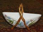 Victorian Porcelain Hand Painted Boat Shape Bowl Bamboo Handles Sweetener Holder