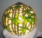 VINTAGE TIFFANY QUALITY BRONZE&LEADED STAINED GLASS BALL SHADE W/BAMBOO LEAF
