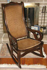 Antique Wood & Cane Rocking Chair Vintage 1950s Colonial-style Rocker NO SHIP