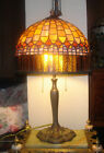 ANTIQUE LAMP TIFFANY CURTAIN SIGNED SOMERS HUNTINGTON N.Y.  STAINED GLASS SHADE