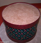 VINTAGE GREEN MAROON HOLIDAY DRUM HAT BOX 95 WIDE BY 675 TALL EUC