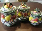 FITZ AND FLOYD CLASSICS FLORENTINE FRUIT 3 CANISTERS