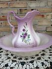 Large Iron Stone VIOLET Flower Wash Bowl Basin And Water Pitcher Set
