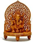 Wooden Ganesha Statue Hand Carved Hindu God Lord Ganesh Idol Elephant Sculpture