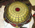 Beautiful rare antique art deco stained & leaded glass hanging shade, ca. 1920s