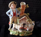 German Vintage Figurine of Boy and Dog/Cat with Doghouse and Attached Vase