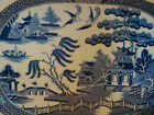 Early Staffordshire Transfer Crown Mark Blue Willow Indented Platter 19th 12 3/4