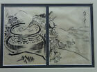 JAPANESE INK DRAWING TWO PANELS SIGNED/FRAMED COMICAL FIGURES MEDIUM