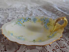 Vintage O&EG Royal Austria Hand Painted Dish with Handle - Pink Blue Flowers