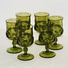 6 Vtg Indiana Green King's Crown Thumprint Pedistal Water Wine Glasses Goblets