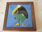 PALISADES PICTURE TILE, EARLY WORK CHRIS REUTINGER FIRED SIGNED, PENGUIN, FRAMED