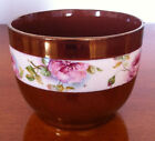 LOVELY RARE PINK FLOWERS ON COPPER LUSTER BOWL PINK/GREEN/IVORY FLORAL DECORATIO