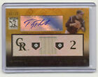 2010 Triple Threads Troy Tulowitzki Gold Relic Autograph 2 25 JERSEY NUMBER